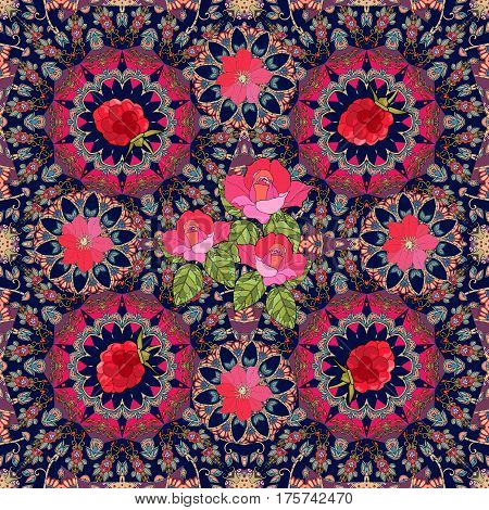 Lovely tablecloth or festive kerchief with roses, clematis and raspberries on ornamental background