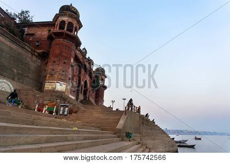 stairs of Ghat a place for cremation of corpses. Holy city of Varanasi India