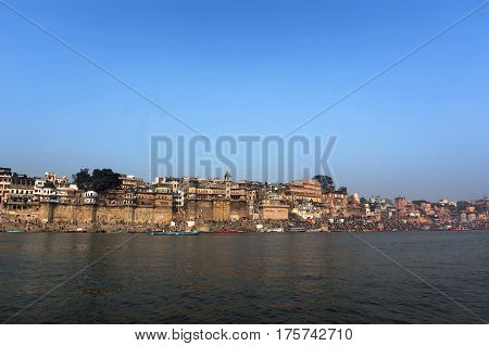 the view from the river Ganges in Varanasi an Ancient Holy Indian city.