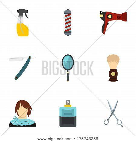 Hairdressing salon icons set. Flat illustration of 9 hairdressing salon vector icons for web