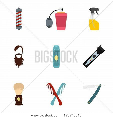 Shaving tools icons set. Flat illustration of 9 shaving tools vector icons for web