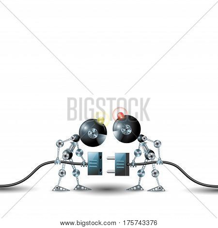 Vector illustration depicting two drones connecting wires on white background