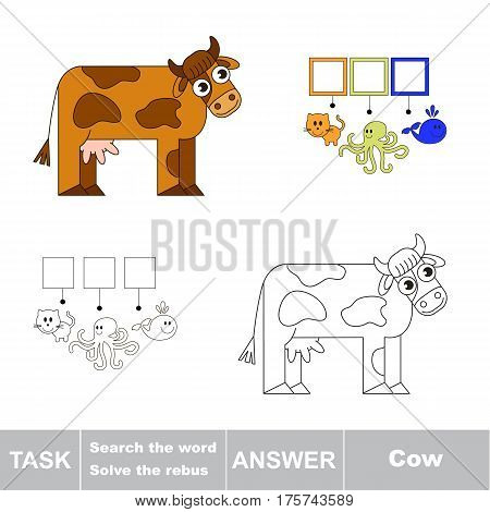 Educational puzzle game for kids. Find the hidden word Cow