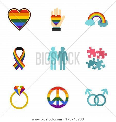 Homosexual icons set. Flat illustration of 9 homosexual vector icons for web