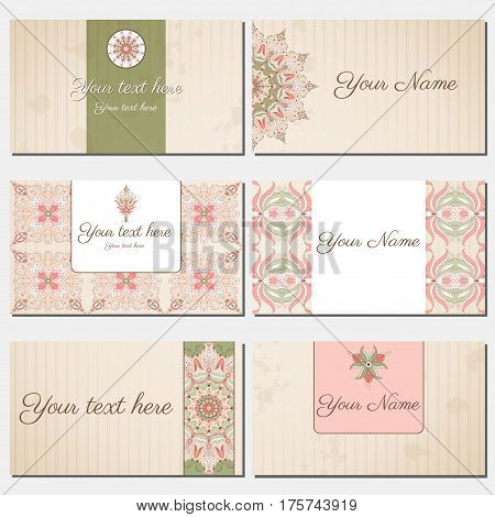 Set Of Six Horizontal Business Cards. Oriental Pattern And Old Paper, Strips And Stains.. Complied W