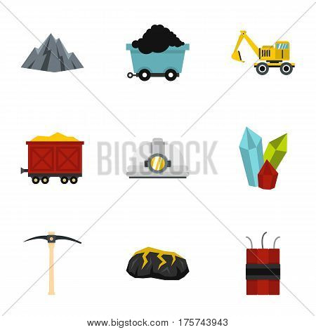 Mining coal industry icons set. Flat illustration of 9 mining coal industry vector icons for web