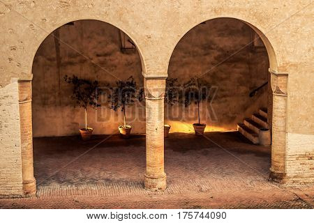 Arches In The Courtyard Of Medieval Castle