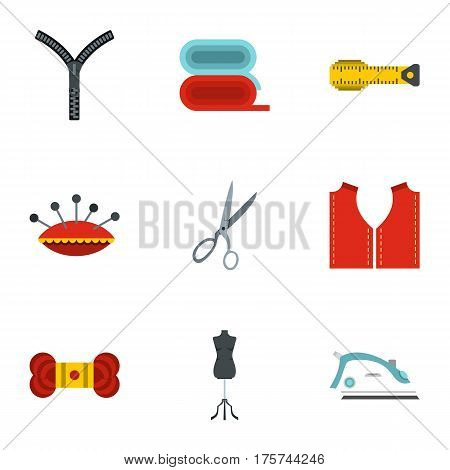Tools and accessories for tailoring icons set. Flat illustration of 9 tools and accessories for tailoring vector icons for web