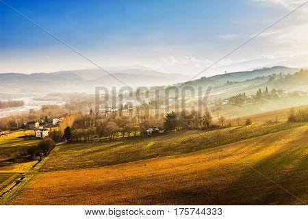 Scenic hills at sunset Emilia-Romagna region Italy.