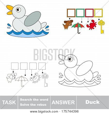 Educational puzzle game for kids. Find the hidden words Duck