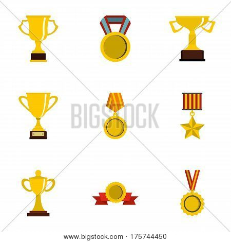 Competition and success icons set. Flat illustration of 9 competition and success vector icons for web