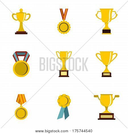 Trophy and awards icons set. Flat illustration of 9 trophy and awards vector icons for web