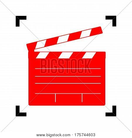 Film clap board cinema sign. Vector. Red icon inside black focus corners on white background. Isolated.