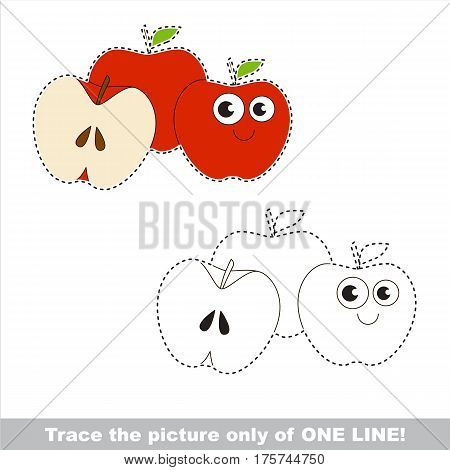Three red apples to be traced only of one line, the tracing educational game to preschool kids with easy game level, the colorful and colorless version.