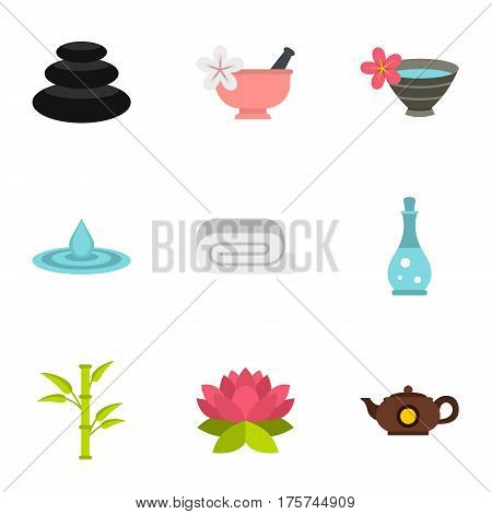 Spa therapy, massage, cosmetics icons set. Flat illustration of 9 spa therapy, massage, cosmetics vector icons for web