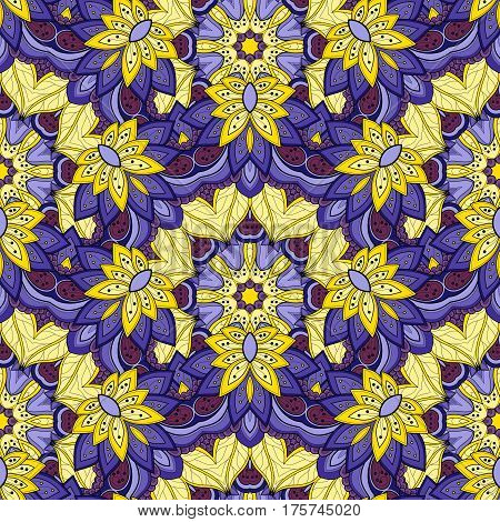 Vector Seamless Colored Ornate Pattern