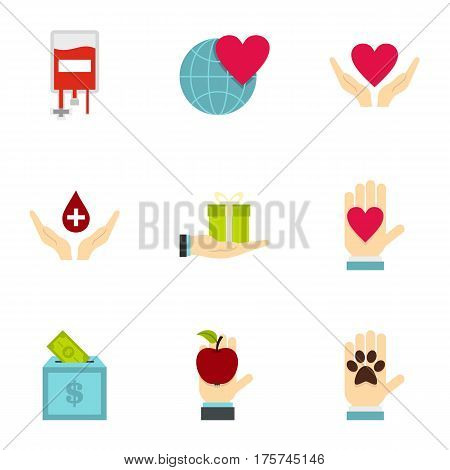 Charity icons set. Flat illustration of 9 charity vector icons for web
