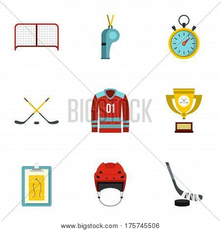 Hockey icons set. Flat illustration of 9 hockey vector icons for web