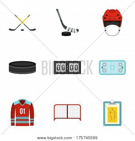 Ice hockey sport icons set. Flat illustration of 9 ice hockey sport vector icons for web