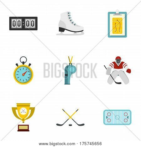 Hockey elements and figure skating icons set. Flat illustration of 9 hockey elements and figure skating hockey elements vector icons for web