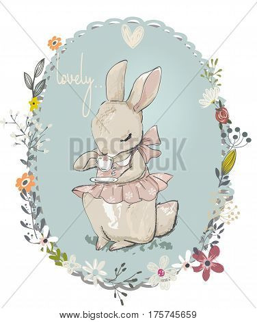 cute little cartoon hares with flower frame