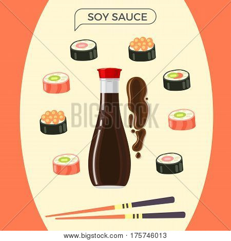 Soy sauce bottle with set of sushi rolls and chopsticks. Vector illustration of bottle with dark soy sauce in center and sushi of salmon and with caviar around it, colourful chopsticks underneath