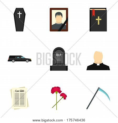 RIP icons set. Flat illustration of 9 RIP vector icons for web