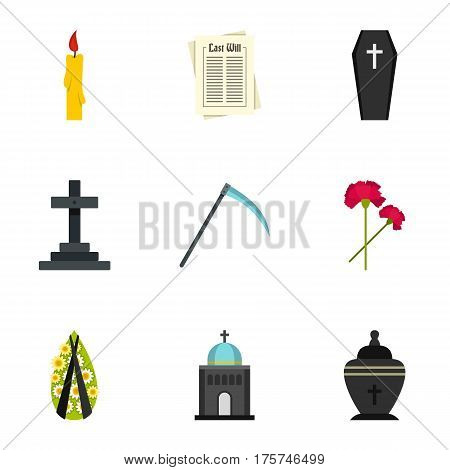 Burial icons set. Flat illustration of 9 burial vector icons for web