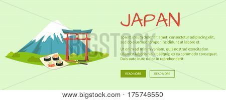Japan vector web illustration with written text and high mountain, torii gate, sushi set on square plate with chopsticks near on light green background. Japanese traditional oriental symbols