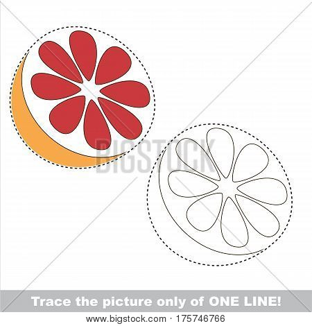 Sweet Grapefruit Half Slice to be traced only of one line, the tracing educational game to preschool kids with easy game level, the colorful and colorless version.