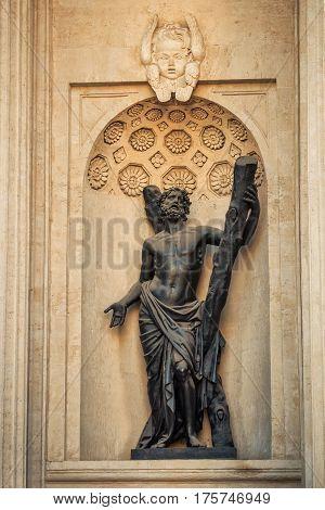 Sculpture of Kazan cathedral in Saint Petersburg Russia.