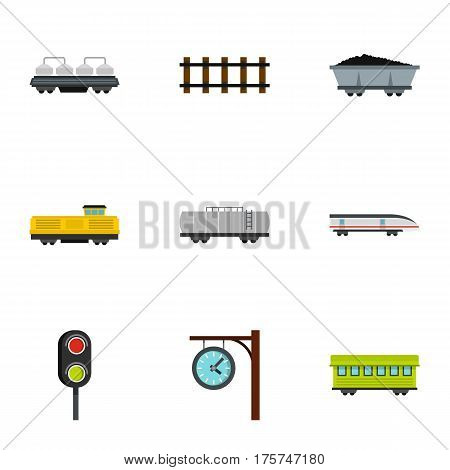 Train icons set. Flat illustration of 9 train vector icons for web