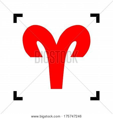 Aries sign illustration. Vector. Red icon inside black focus corners on white background. Isolated.