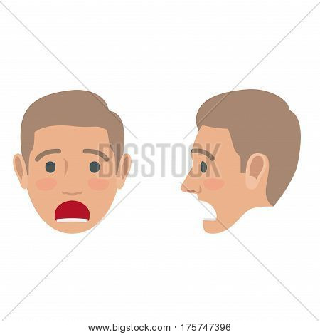 Shocked man avatar user pic. Vector of front and side view of person troubled boy with open mouth. Male head with disturbed facial expression. Adult profile icon with worried face, character mood