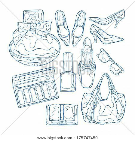Cosmetics and women's clothes. Perfume, eye shadow, nail polish. High heel shoes, handbag, purse, sunglasses. Isolated vector objects on white background.