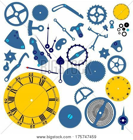 set of clockwork mechanism on white background