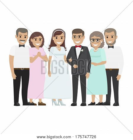 Wedding day web banner of newlyweds couple and their parents. Beautiful young newly-married groom and bride with mother and father. Love people and wedding. Engagement ceremony vector illustration