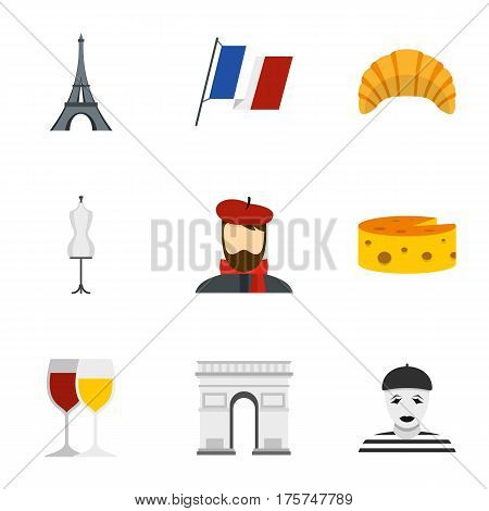 Welcome to France icons set. Flat illustration of 9 welcome to France vector icons for web