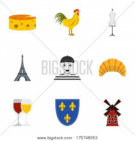 Travel to France icons set. Flat illustration of 9 travel to France vector icons for web