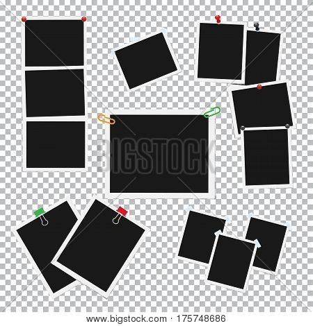 Empty photo frames pinned, clipped and taped on transparent background vectors set. Cards or reminders templates attached with pushpins, paperclips and scotch tape illustrations collection