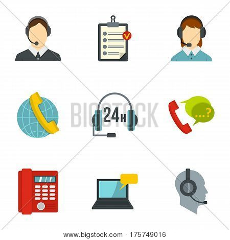 Business customer care service icons set. Flat illustration of 9 business customer care service vector icons for web