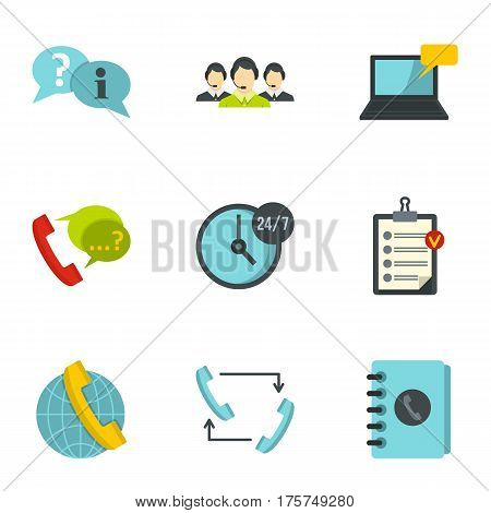 Customer service icons set. Flat illustration of 9 customer service vector icons for web