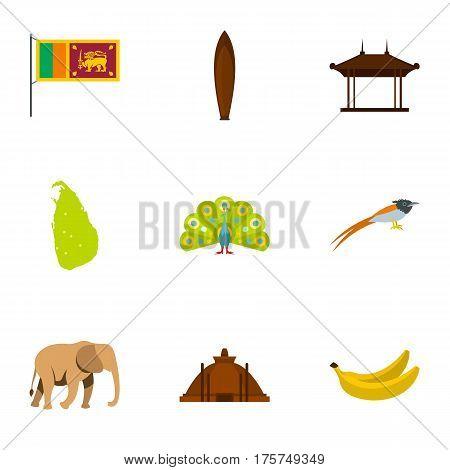 Travel to Sri Lanka icons set. Flat illustration of 9 travel to Sri Lanka vector icons for web