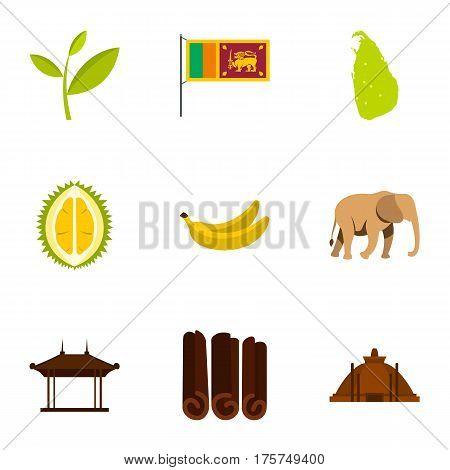 Symbols of Sri Lanka icons set. Flat illustration of 9 symbols of Sri Lanka vector icons for web