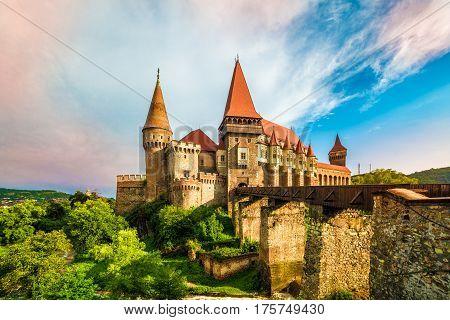 Medieval Hunyad Corvin castle Hunedoara townTransylvania regiomRomaniaEurope