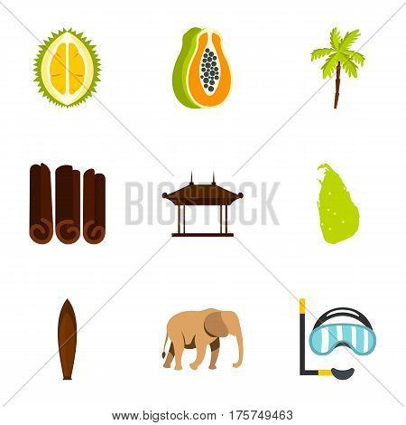 Sri Lanka attractions icons set. Flat illustration of 9 Sri Lanka attractions vector icons for web