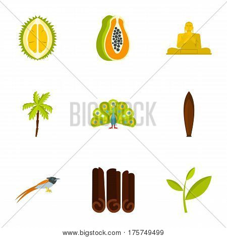 Culture features of Sri Lanka icons set. Flat illustration of 9 culture features of Sri Lanka vector icons for web