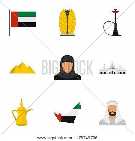 United Arab Emirates icons set. Flat illustration of 9 United Arab Emirates vector icons for web