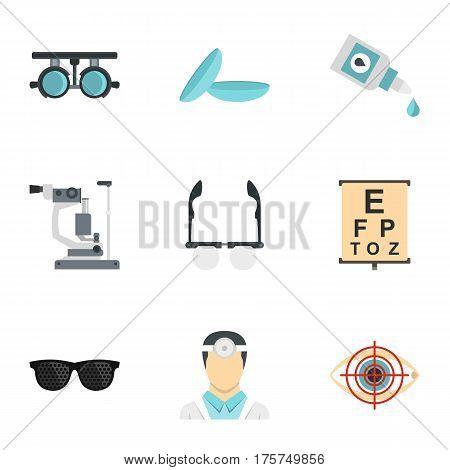 Vision correction icons set. Flat illustration of 9 vision correction vector icons for web