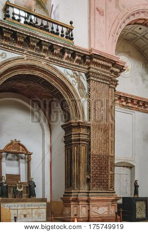 Old Goa, India - November 13, 2012: Interior of Convent and Church of St. Francis of Assisi - Roman Catholic church
